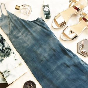 Silky Blue Tie Dye Side Slit Cami Tunic